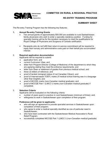 committee on rural & regional practice - Saskatchewan Medical ...