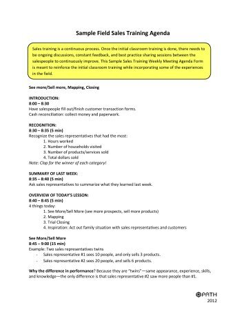 sample auto sales training