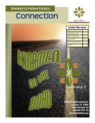 JULY Connection 2012 - Kinsmen Lutheran Church