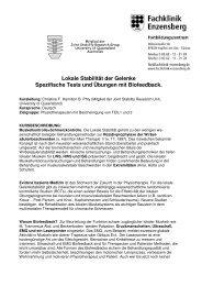 Lokale Stabilität der Gelenke Spezifische Tests und Übungen mit ...
