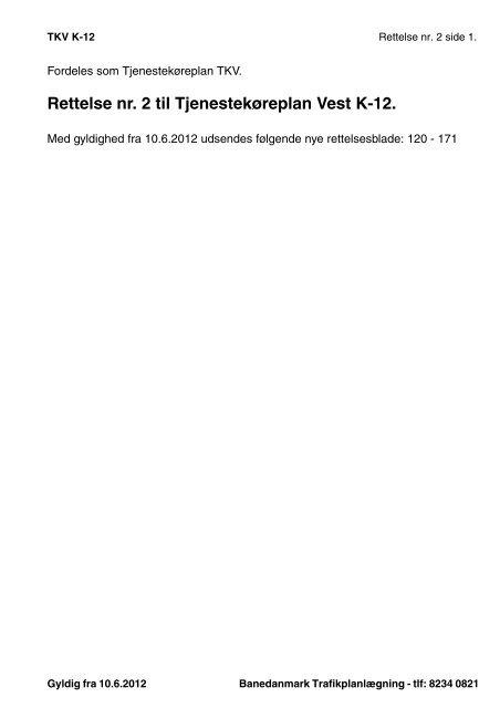 Forside rettelsesblade ret2 TKV K12.fm - Banedanmark