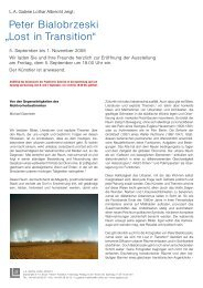 Presse Text Transition - L.A. Galerie – Lothar Albrecht