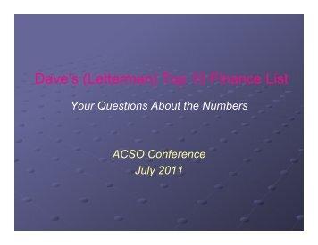 Dave's (Letterman) Top 10 Finance List - ACSO