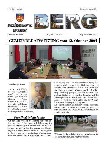 GEMEINDERATSSITZUNG vom 12. Oktober 2004