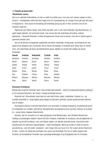 1 7. Familie og kønsroller 'Muslimske' navne Det er ... - Troens verden