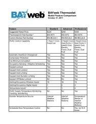 BAYweb Thermostat Model Feature Comparison - DIYControls