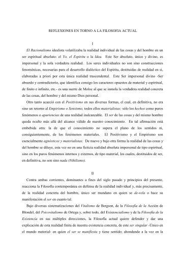 REFLEXIONES EN TORNO A LA FILOSOFIA ACTUAL