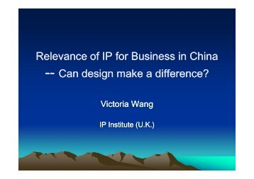 Presentation of Victoria Wang, Intellectual Property Institute, United ...