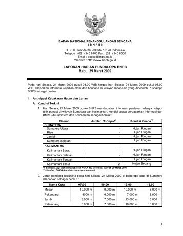 1 LAPORAN HARIAN PUSDALOPS BNPB Rabu, 25 Maret 2009