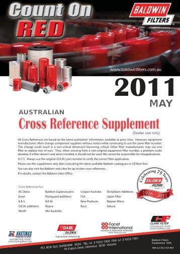 Baldwin Filters Australia Cross Reference