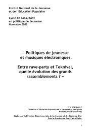 Politiques de jeunesse et musiques électroniques. Entre rave ... - Injep