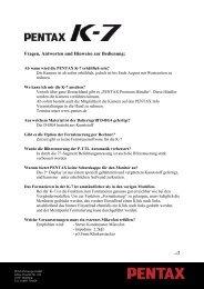 Fragen, Antworten und Hinweise zur Bedienung: - Pentax