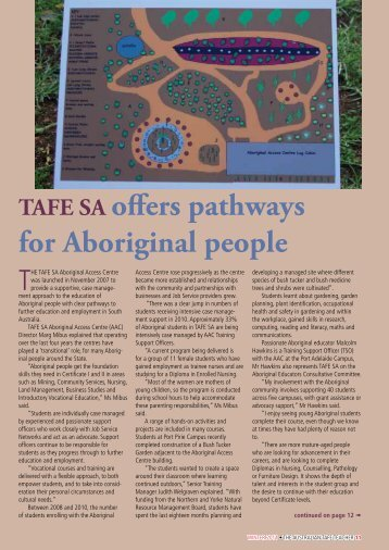 TAFe sA offers pathways for Aboriginal people - Australian ...