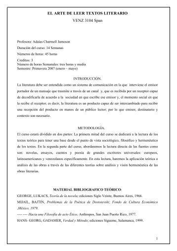 EL ARTE DE LEER TEXTOS LITERARIO VENZ 3104 Span