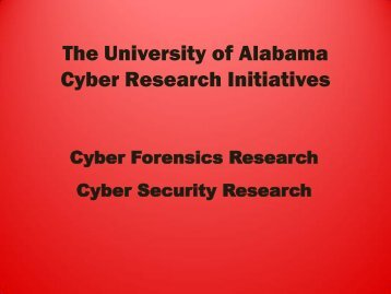 Cyber RESEARCH Initiatives - University of Alabama System