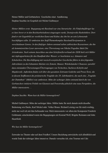 Heiner Müller und Gorbatschow Geschichte ... - Stephan Suschke
