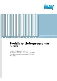 Knauf Preisliste Lieferprogramm, April 2012