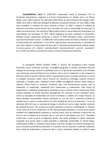 ALEXANDRESCU, Sorin N. 18.08.1937, comparatist, eseist şi ...