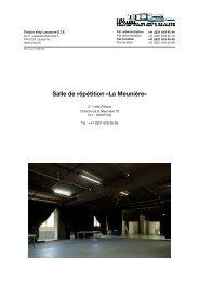 Salle de répétition «La Meunière» - Théâtre Vidy Lausanne