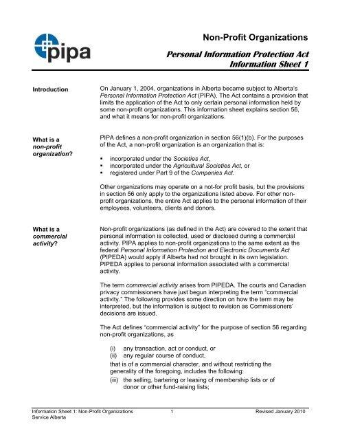 PIPA Information Sheet 1: Non-Profit Organizations - Service