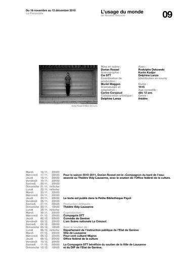 L'usage du monde - Théâtre Vidy Lausanne