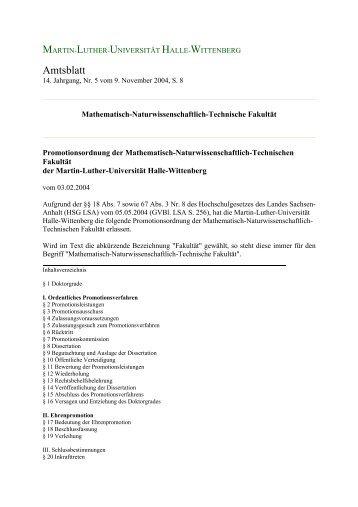 Promotionsordnung - Fachbereich Biologie der Uni Halle ...