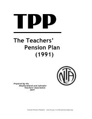 Pension Plan of the NL Teachers' Association - Revised ... - Finance