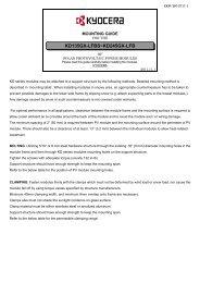 Mounting Guide - KYOCERA Solar