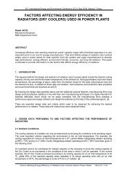 factors affecting energy efficiency in radiators (dry coolers)