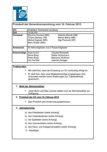 Protokoll der GV vom 14.2.2013 - Tennisclub Lenzburg