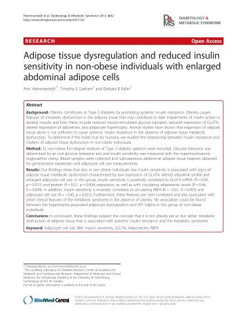 Adipose tissue dysregulation and reduced insulin ... - BioMed Central