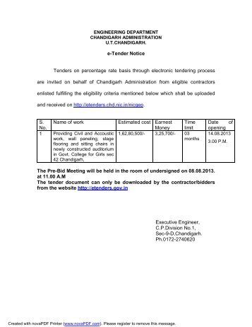 e-Tender Notice Tenders on percentage rate basis through ...