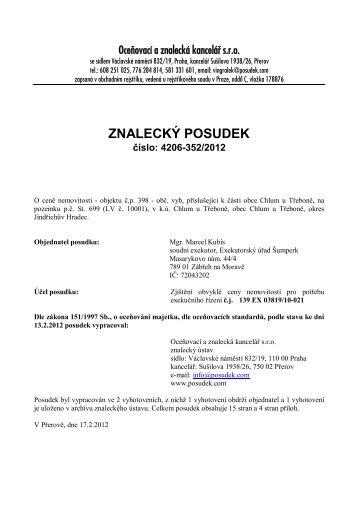 ZNALECKÝ POSUDEK číslo: 4206-352/2012 - OKdrazby.cz
