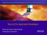 Security For Application Developers - InterSystems Benelux