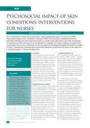 Psychosocial impact of skin conditions: interventions for ... - BDNG
