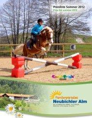 Price list summer 2012 - Familienparadies Neubichler-Alm