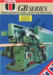 Wadkin GB Planer Moulder Literature