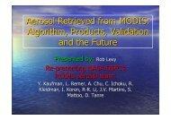 Aerosol Retrieved from MODIS: Algorithm, Products ... - AeroCom