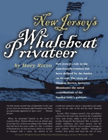 New Jersey's Whaleboat Privateer - Garden State Legacy