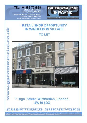7 High Street, Wimbledon, London, SW19 5DX RETAIL SHOP ...