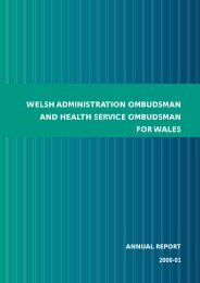 WELSH ADMINISTRATION OMBUDSMAN AND ... - Health in Wales