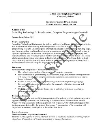 Gifted LearningLinks Program Course Syllabus Instructor name ...