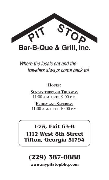 to download a PDF copy of our menu!! - Pit Stop BBQ & Grill