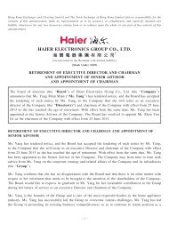 retirement of executive director and chairman and ... - Haier