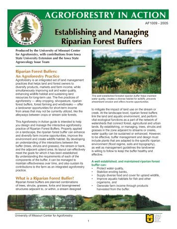 Establishing and Managing Riparian Forest Buffers - University of ...