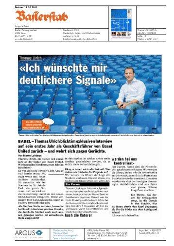 "Baslerstab, ""Thomas Ulrich. 'Ich wünschte mir ... - Basel United AG"