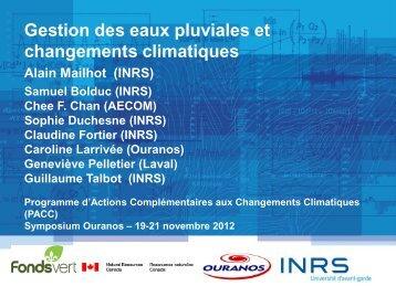 Gestion des eaux pluviales et changements climatiques - Ouranos