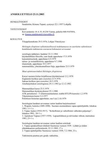 Kimmo Sundströmin CV - Pääkaupunkiseudun ateistit ry