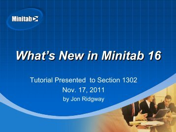 What's New in Minitab 16 - ASQ-1302