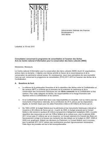 Consultation concernant le programme de consolidation 2011-2013 ...